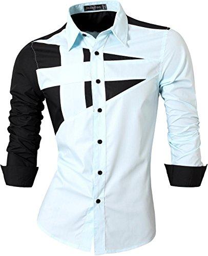 jeansian Herren Freizeit Hemden Shirt Tops Mode Langarmshirts Slim Fit 8397 Lightblue