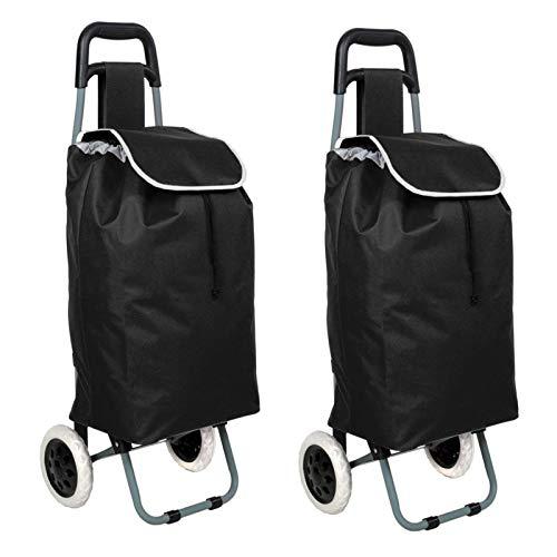 2er Set Einkaufstrolley Schwarz Klappbar | Einkaufs Trolley Trolli Roller Faltbar | Einkaufsroller Einkaufshilfe | Einkaufswagen Transportwagen
