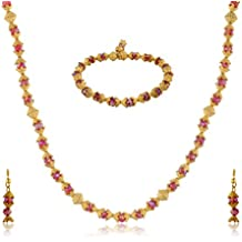 Naanjil Maroon Metal Jewellery Set for Women (NAM00048)