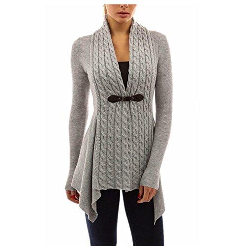 LSAltd Damen Elegante gestrickte Strickjacke lange Hülse dünne Strickjacke outwear (Grau, (Weiße Kostüm Mädchen Basic)