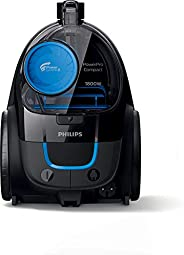 Philips PowerCyclone 5 PowerPro 1800W Compact Bagless Vacuum Cleaner EPA10 Filter, FC9350, Black/Blue, 1 Year