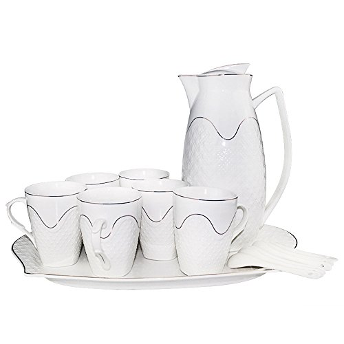 ufengke-ts Porcelain Ceramic Coffee Set Tea Set Tea Service For Perfect Gift,8 Pieces, including one tray