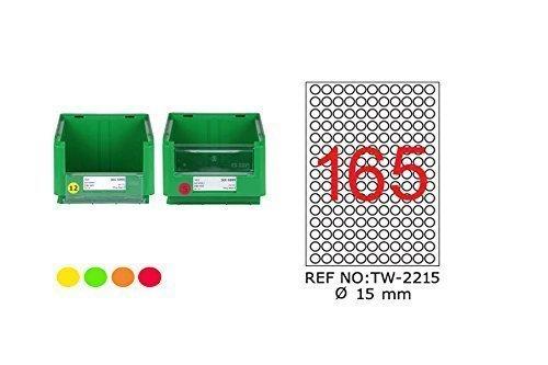 TANEX TW-2215 Fluorescent étiquettes rouge ø 15 mm -rond- 25 Bl. A4