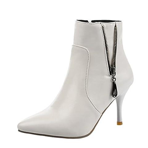 UH Femmes Chaussures Bottes à Cheville avec Zip Bout Pointu