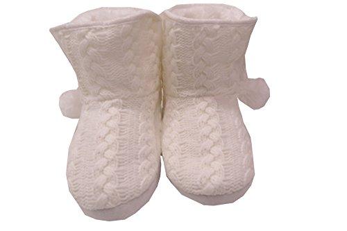 En Tricot pour femme bottes Chaussons en tricot avec pompon blanc Blanc Cassé