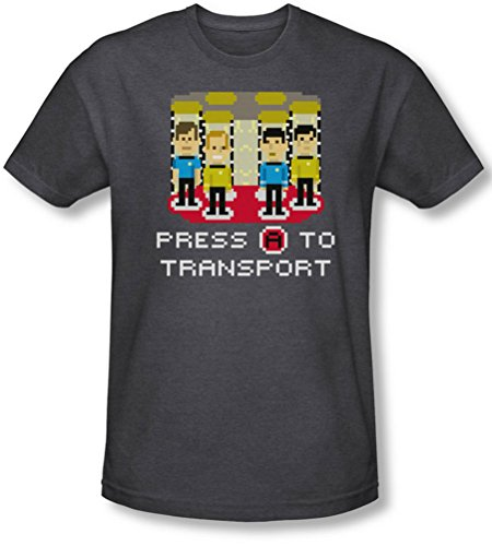 Star Trek - - Herren A drücken, um Transport-T-Shirt in der Holzkohle Charcoal