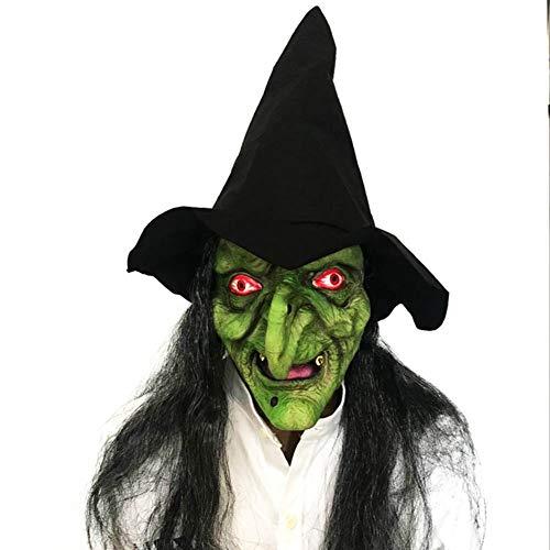 Halloween Lange Haare Gesichtsmaske Horror Hexe Gesicht Scary Latex Stirnband Hut Dance Party Performance Requisiten (Gesicht Hexe Halloween Für Bemalen)
