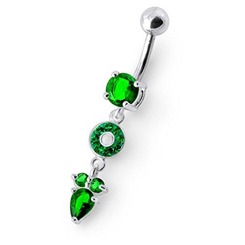 Bijou de nombril Cercle pierres fantaisies avec Fleurs pendants en Argent Sterling 925 avec Banane 14Gx3/8(1.6x10MM)en acier chirurgical 316L et Boule 5MM. Dark Green