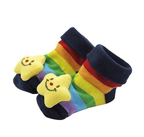 westeng 1par bebé Kid para recién nacido Cartoon 3d calcetín corto botas calcetines antideslizante 0–12meses azul oscuro Talla:talla única