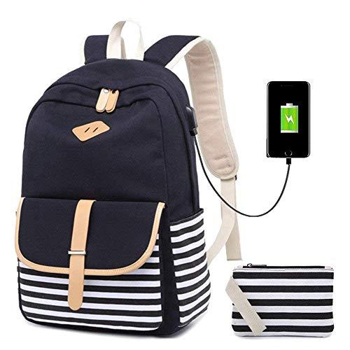 Xinnegen School Canvas Rucksack, gestreifte Rucksack mit USB-Ladeanschluss und 1 Handtasche Tasche passt 15,6 '' Laptop 2 Packs Schwarz