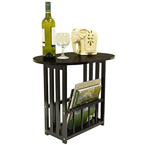 HAUGHTON - Table basse pivotante avce porte-revues - finition chene fonce