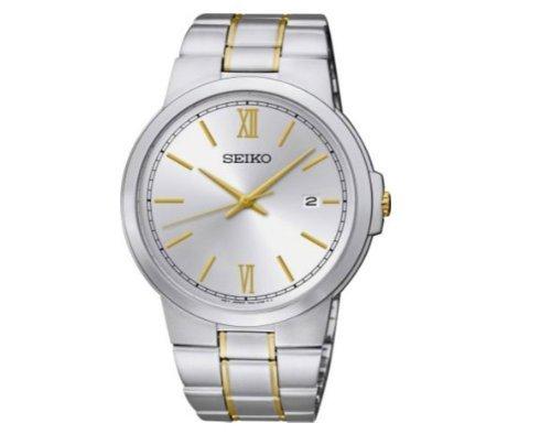 rubiesofuk dos tono Seiko Classic esfera blanca reloj de pulsera de los hombres (Reacondicionado Certificado)
