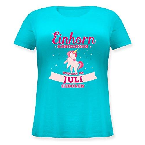 Shirtracer Geburtstag - Einhorn Königinnen Wurden IM Juli Geboren - Lockeres Damen-Shirt in Großen Größen mit Rundhalsausschnitt Türkis