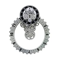 Ziligengsheng Gear Clock Unusual Cogs Moving Gear, Mechanical Element Quartz Movement Wall Clock, Black/Gray