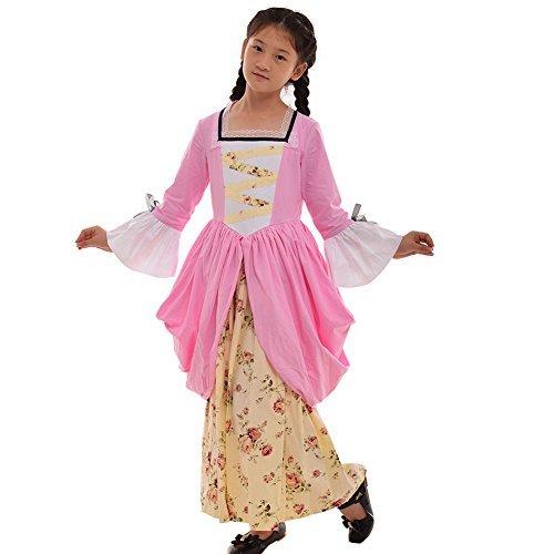 GRACEART Pionier Pilger Mädchen Kolonialen Kinder Kostüm (US-10, Rosa)