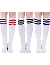 71272cea1f Tatuo 3 Paar Lange Gestreifte Socken Kniestrümpfe für Damen Mädchen  Weihnachten Cosplay Geburtstagsfeier