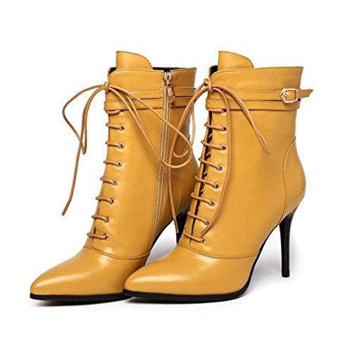 Best 4U® Scarpe da donna in pelle Genuine in gomma Suola 7cm Tacchi alti Martin Stivali Pointed-toe Fibbia Shoeslace Stile Casual Giallo Nero Yellow