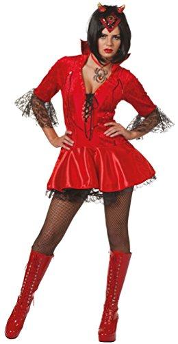 (Karneval-Klamotten Teufel-Kostüm Damen Teufelskostüm Damen-Kostüm rot Halloween Größe 40)