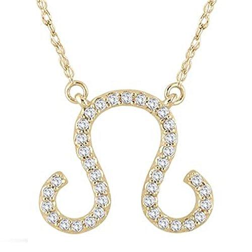 Silvernshine Jewels 1/4 Ct D/VVS1 Diamant 14k Gelbgold Fn Leo Zodiac Anhänger w / 18