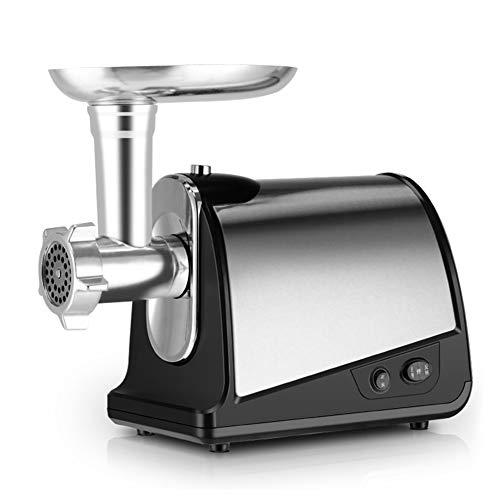 Máquina para picar carne eléctrica de acero inoxidable, máquina de llenado de salchichas para uso doméstico y comercial, plateada, 450W