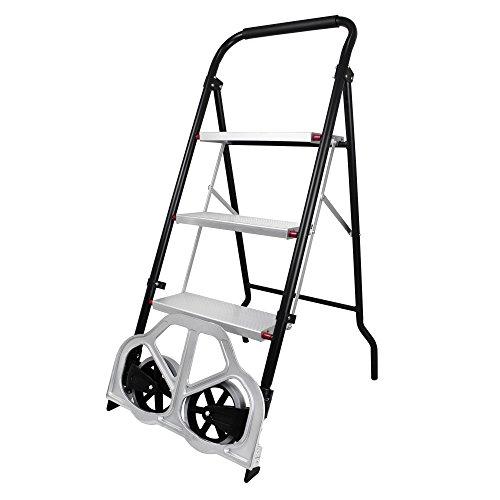 Todeco - Escalera Plegable 2 en 1, Carro de Transporte - Tamaño plegado: 112 x 48 x 7,5 cm - Carga máxima: 100 kg (escalera), 150 kg (carro de mano)