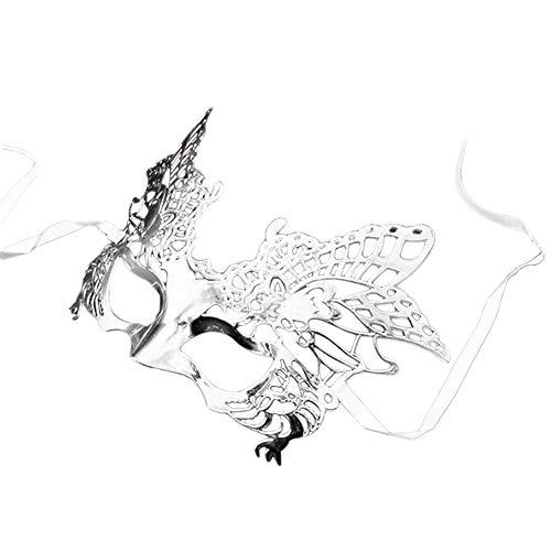 Daliuing Venezianische Maske, bequem, leicht, Festival-Maske für Erwachsene, Kostüm, Zubehör für Halloween, Karneval, Party, Dekoration 24 * 16cm silber