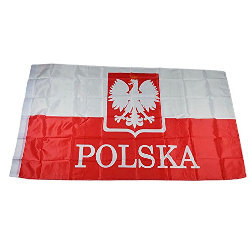 NiceButy 1Pcs 90* 150cm Flagge Nationaler Dekorationen Internationalen Flaggen-Spiel von Ländern für Vereine Sportler, Feier der Vorgang-Bär Flag Nationaler # Polen #