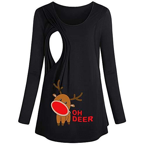 Weihnachten Umstandsmode Damen Stillshirt Stilltop Weihnachten Elch-Pr