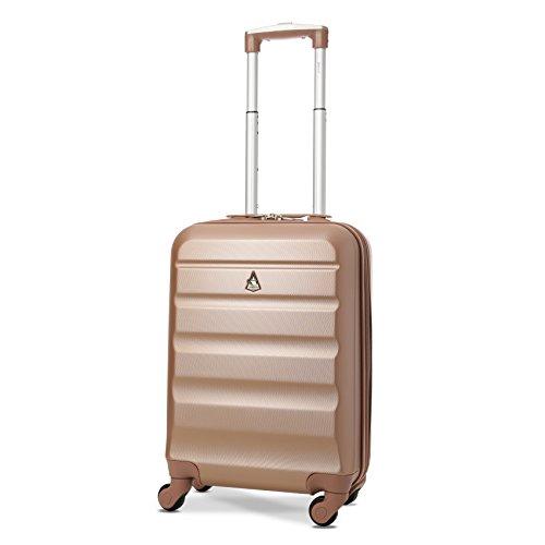 Aerolite Leichtgewicht ABS Hartschale 4 Rollen Handgepäck Trolley Koffer Bordgepäck Kabinentrolley Reisekoffer Gepäck, Genehmigt für Ryanair, Easyjet, Lufthansa und viele mehr (Roségold + Kohlegrau) - 2