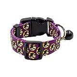 UKCOCO Haustier Halloween Festival Halsbänder, Verstellbare Nylon Fledermaus Halsbänder, Pet Halskette mit Glocke für Kleine Mittlere Große Katzen und Hunde - Größe L (Lila)