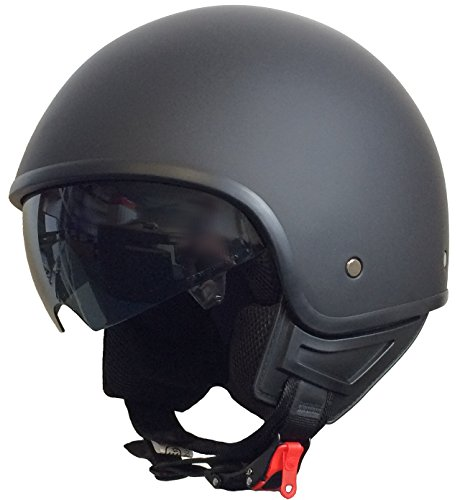 rallox Helmets Chopper Casco 074Negro/Mate rallox Jet Casco de Moto con Parasol (XS, S, M, L, XL) tamaño s