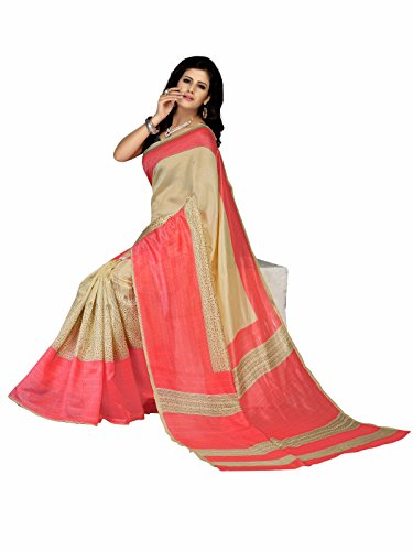 Florence Pink & Beige Jute Cotton Daily Wear Printed Beautiful Saree with...