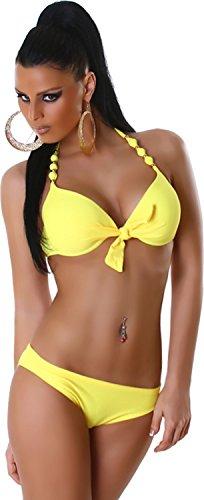 Perlen Bikini (PF-Fashion Damen Bikini Bademode Badeanzug Perlen push-Up Neckholder Top Slip Uni Zweiteiler Gelb)