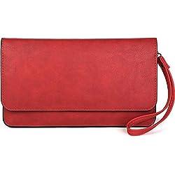 styleBREAKER Bolso de Mano «Clutch» de Mujer con Solapa y Correa de Mano, Bolso de Fiesta, Cartera 02012259, Color:Rojo