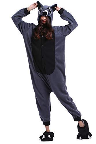 Pyjama Tier Cosplay Grauer Waschbär Cartoonstil Animal Kigurumi Plüsch für Erwachsene Unisex