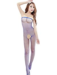 Bigood Pijama Mujer Malla Entrepierna Abierta Sin Tirante Adelgazado