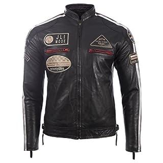 Herren echtes Leder Bikerjacke mit Bandkragen und Rennabzeichen von MDK, Schwarz,  6XL