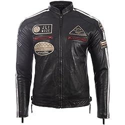 Véritable veste de motard en cuir pour hommes avec col de bande et badges par MDK, Noir, XXXXXX-Large / 6XL / Poitrine=48 Inches