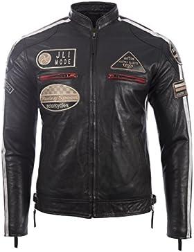 Chaqueta de motociclista de cuero real de los hombres con el cuello en banda y la insignia para MDK