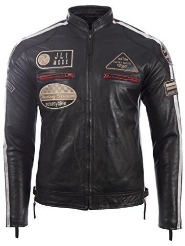 Herren echtes Leder Bikerjacke mit Bandkragen und Rennabzeichen von MDK