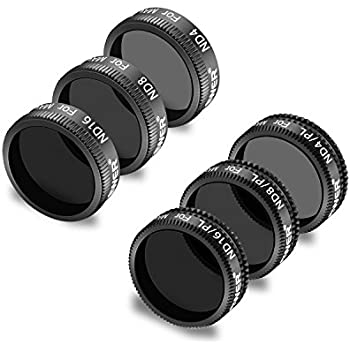 f03dbcf7435 Neewer 6 Pieces Pro Lens Filter Kit for DJI Mavic Air Drone Quadcopter  Includes: ND4, ND8, ND16, ND4/PL, ND8/PL, ND16/PL, Made of Multi Coated  Waterproof ...