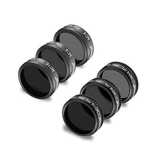 Neewer Filter Set für DJI Mavic Air Umfasst: ND4, ND8, ND16, ND4/PL, ND8/PL, ND16/PL, hergestellt aus Mehrfachbeschichteten wasserdichten Aluminiumlegierung Rahmen optischen Glas (schwarz)
