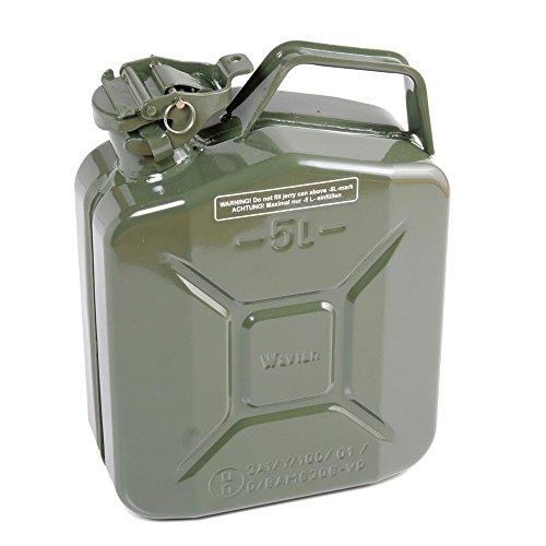 J008 Benzinkanister, aus Metall, Armee-Stil, Fassungsvermögen: 5 Liter, Olivgrün