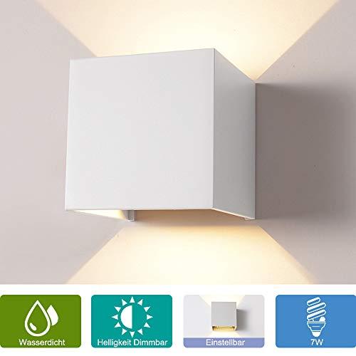 Weiß 85 Spur (Elitlife 7W Dimmer Aluminium Wasserdicht Wandleuchte,85-265V 3000K Einstellbare 2 LED für Innen und Außen Warmweiß Leuchtet [Energieklasse A++])