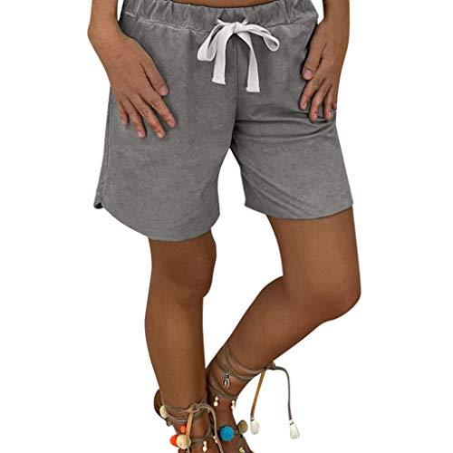 Neu 2 Stück Velour-outfit (Loxmy Bekleidung, Damen Sommer Baumwoll Shorts Casual Sporthosen Baumwoll Stretch Shorts Kurze Hosen Strand Surfen Laufen Schwimmen Watershort Sport Yoga Elastische Shorts)