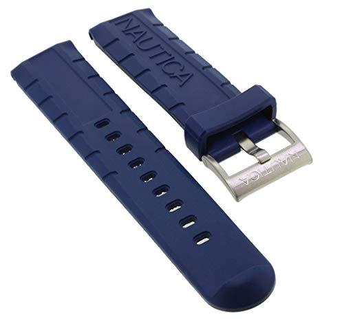 Nautica Ersatzband | Uhrenarmband aus Kunststoff in blau mit Schließe silberfarben | NAI20005G