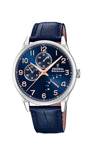 Festina Herren Analog Quarz Uhr mit Leder Armband F20278/B