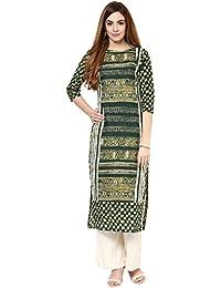 61febc12a8 Jaipur Kurti Cotton Complete Set of Green Kurta and Off white Rayon Palazzo