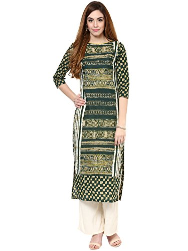 Jaipur Kurti Cotton Complete Set of Green Kurta and Off white Rayon...