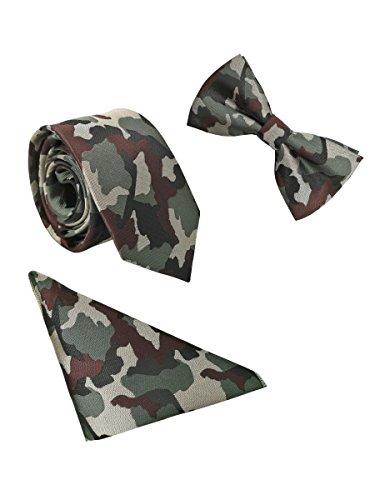 WANYING Herren 6 * 12cm Fliege & 6cm Schmale Krawatte & 22 * 22 cm Einstecktuch 3 in 1 Sets Streetwear - Grün Camouflage Camouflage-fliege